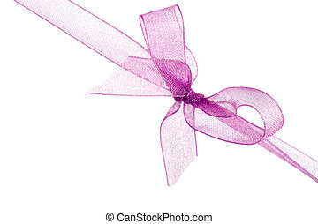 ribbon - pink ribbon and bow isolated on white background