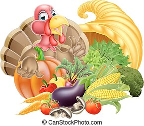 Thanksgiving Concept - Thanksgiving cartoon turkey bird with...