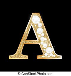 Letter A of gold and diamond