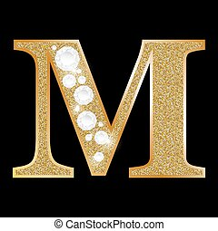 Letter M of gold and diamond