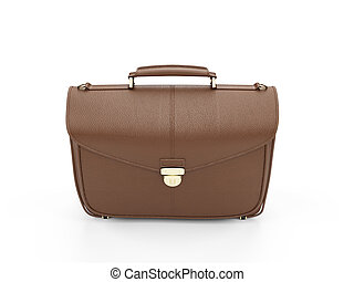 Brown leather handbag - isolated brown leather handbag over...