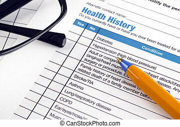 Stock Photography of Health history form - Health history form ...