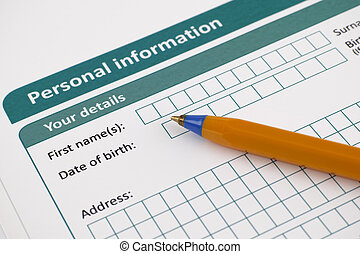 Personal information form with ballpoint pen Adobe RGB