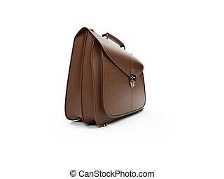 Brown leather handbag - isolated brown leather handbag over...