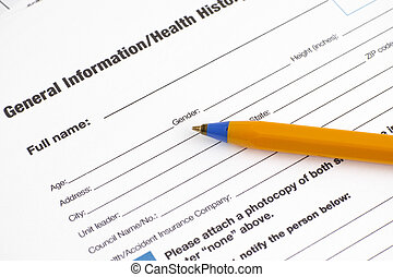 General Information in Health History application form with...
