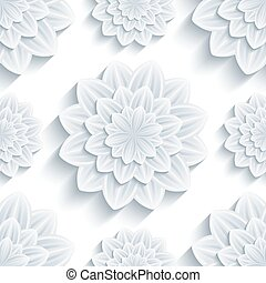 Background seamless pattern with 3d flower chrysanthemum -...