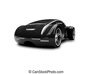 isolated black super car front view 01 - black super car on...