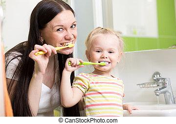 刷, 女儿, 牙齒, 一起, 母親, 女孩, 孩子, 愉快