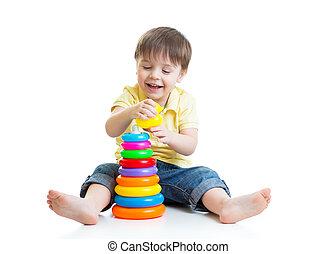 顏色, 玩具, 金字塔, 玩, 孩子