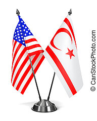 USA and Turkish Republic Northern Cyprus - Miniature Flags -...