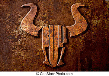 Bull sign concept on metal rust background