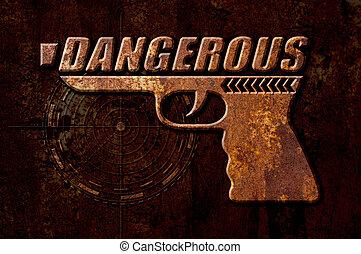 Dangerous gun concept on metal rust background