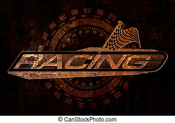 Racing with Checkered Flags Concept on metal rust background