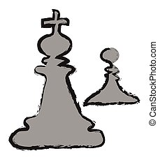 Doodle Sketch Chess King Vector