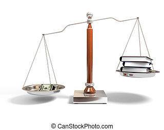 Money and books on balance scale - 3d image of justice scale...