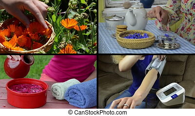 woman health care collage - Herbalist pick marigold flower....