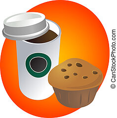 Breakfast to go - Coffe in disposable cup with muffin...