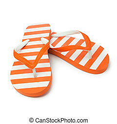 Orange sandal - Pair of orange striped sandal on white...