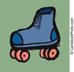 doodle rollerskates vector