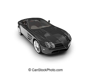 isolated black super car front view 03 - black car on a...