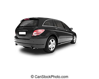 isolated black car back view - black car on a white...