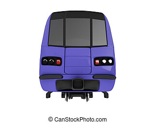 Metro isolated view - isolated train on a white background