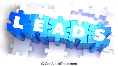 Leads - White Word on Blue Puzzles. - Leads - White Word on...