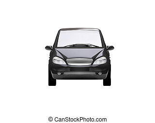 isolated black car front view 05 - black car on a white...
