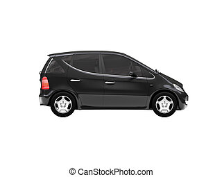 isolated black car side view 01 - black car on a white...