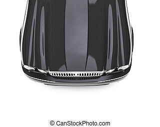 isolated black car top view zoom - black car on a white...