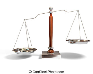 Balance scale - 3d image of justice scale on white