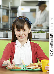 Female Pupil Sitting At Table In School Cafeteria Eating...