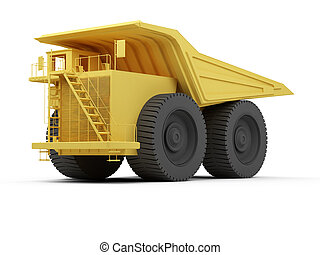 Isolated big dump truck - isolated big orange truck over...