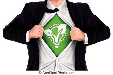 businessman showing eco icon underneath his shirt over white...