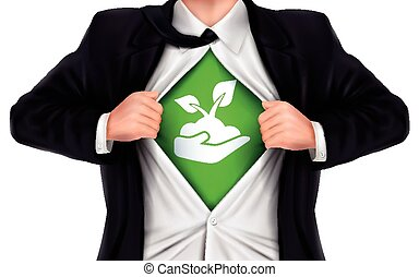 businessman showing growth icon underneath his shirt