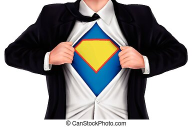 businessman showing superhero icon underneath his shirt over...