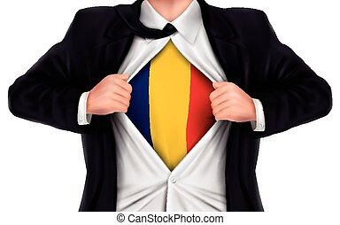 businessman showing Romania flag underneath his shirt over...
