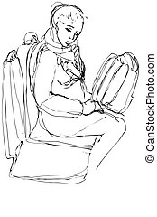 sketch of a woman with a bag sitting on the buss - lack and...