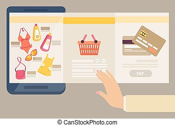 Woman selecting clothes to purchase online with three...