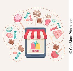 Sweet shop online store with a storefront icon with canopy,...