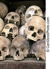 Skulls at Killing Fields- Phnom Penh, Cambodia - A...
