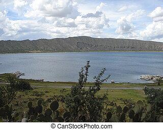 Alchichica crater lake in Mexico - Alchichica crater lake in...