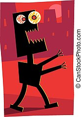 Evil robot - A silhouette image of an evil rampaging robot