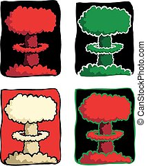 Nuclear explosion - Four variations of an atomic mushroom...