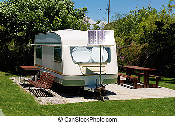 Caravan with solar energy in camp site