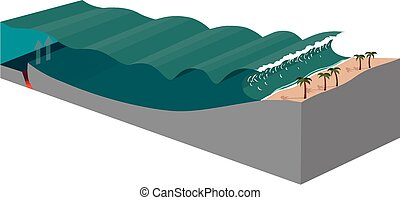 Tsunami diagram - A diagram showing the mechanics of a...
