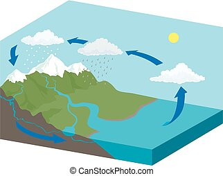 Water Cycle - A cutaway type diagram of the water cycle.