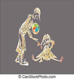 Boy And Girl - Boy holding a lost ball, little girl is...