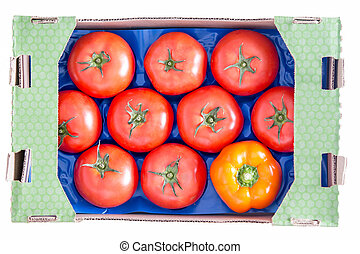 Red Tomatoes and Yellow Bell Pepper on a Tray - Conceptual...