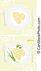 Flavored pelmeni. Labels for menu design. Vector...